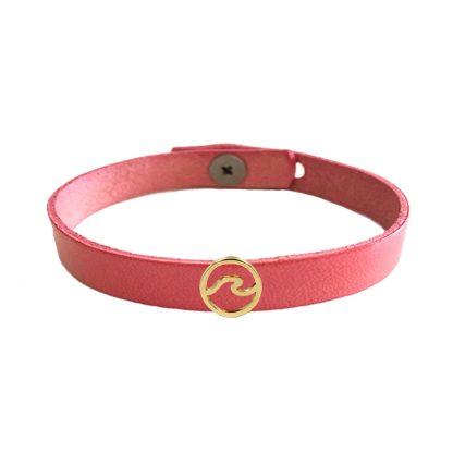 ružový kožený náramok